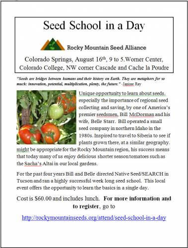 One day seed saving school comes to Colorado College Sat., August 16