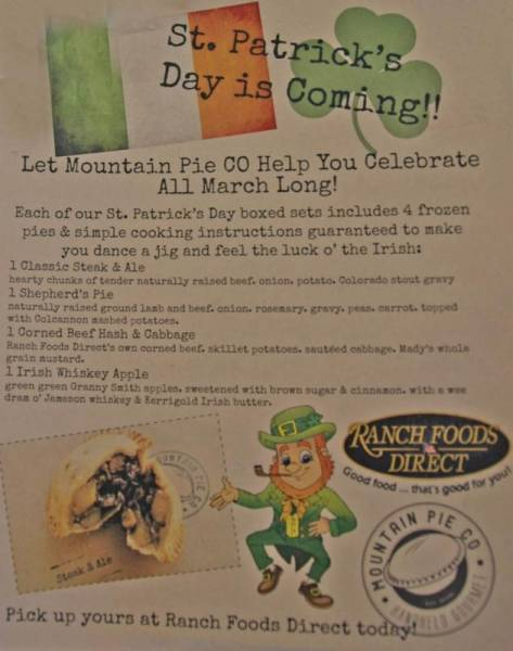 Mountain Pie Co. St. Patrick's Day pie special!