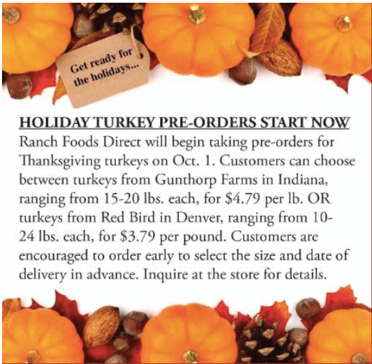 Pre-order your holiday turkey!